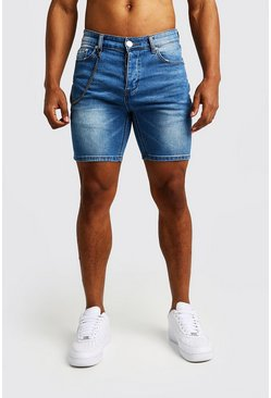 Mens Blue Skinny Fit Denim Shorts With Chain Detail