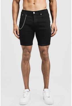 Mens Black Skinny Fit Denim Shorts With Chain Detail