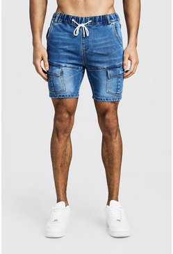 Mens Blue Skinny Fit Cargo Denim Shorts