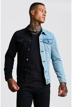 Black Denim Jacket With Contrast Detail
