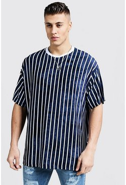Mens Navy Oversized T-Shirt With Tie Dye Stripes