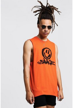 Tank Top mit Wildnis-Smiley-Print, Orange, Herren