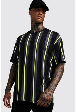 Mens Black Oversized Vertical Stripe T-Shirt