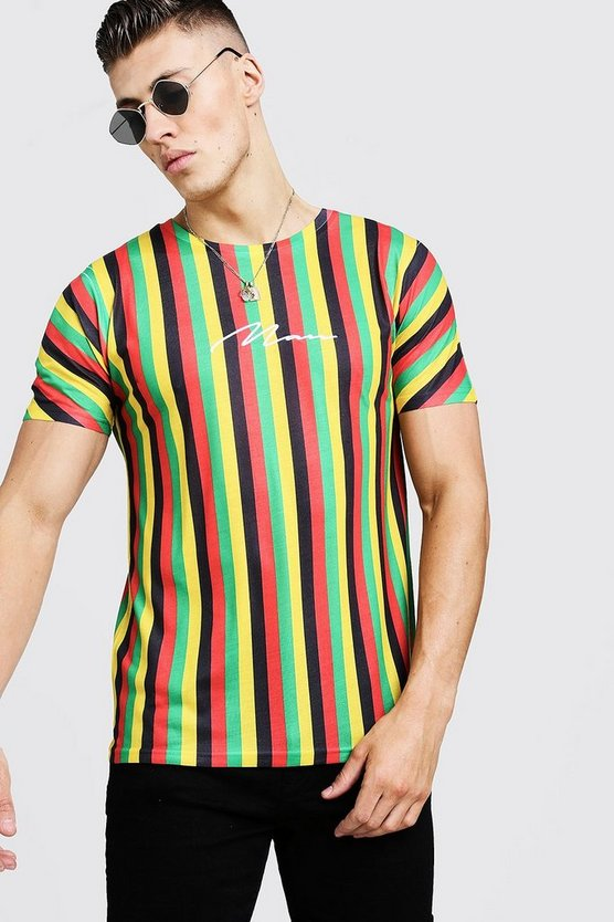 Mens Yellow MAN Signature Stripe T-Shirt