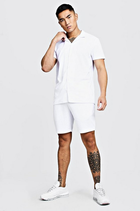 Mens White Revere Jersey Shirt & Short Set