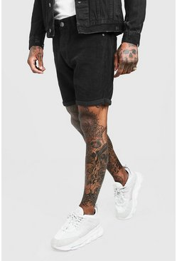 Mens Black Slim Fit Corduroy Short