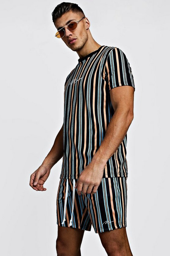 Mens Mustard MAN Signature Stripe T-Shirt & Short Set