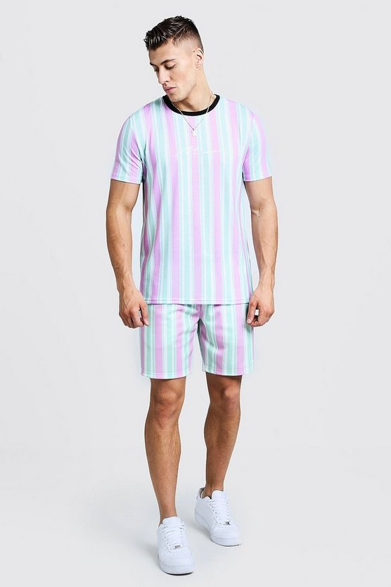 Green MAN Signature Stripe T-Shirt & Short Set