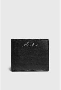 Mens Black Real Leather Foil Embossed Wallet
