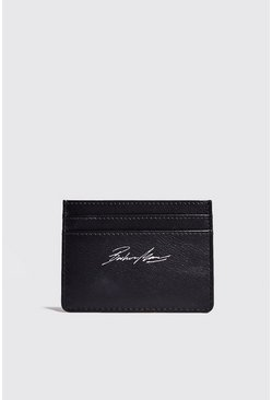 Mens Black Real Leather Foil Print Card Holder