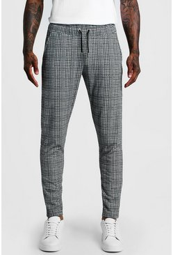 Mens Light grey Smart Checked Jogger Pants