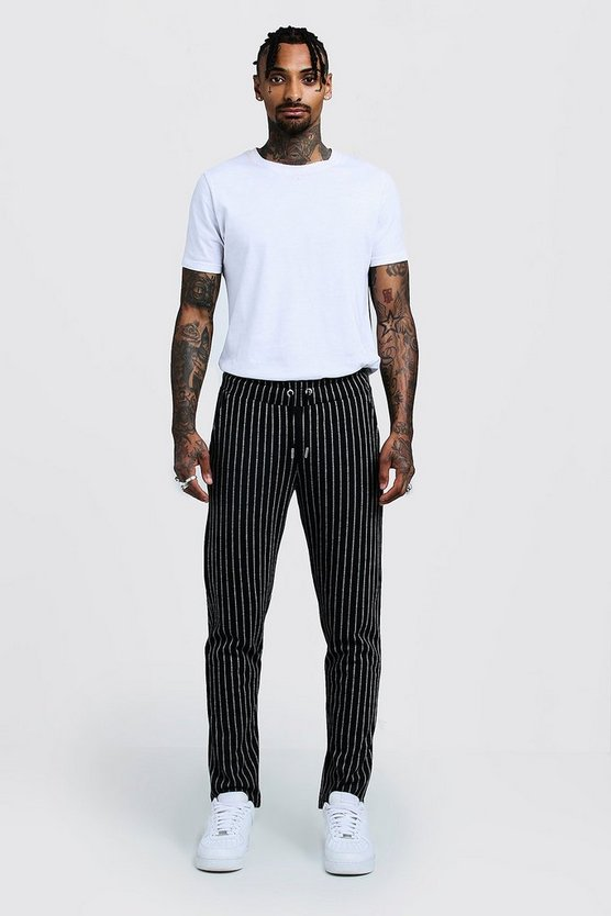 Mens Black Pinstripe Smart Jogger Trouser