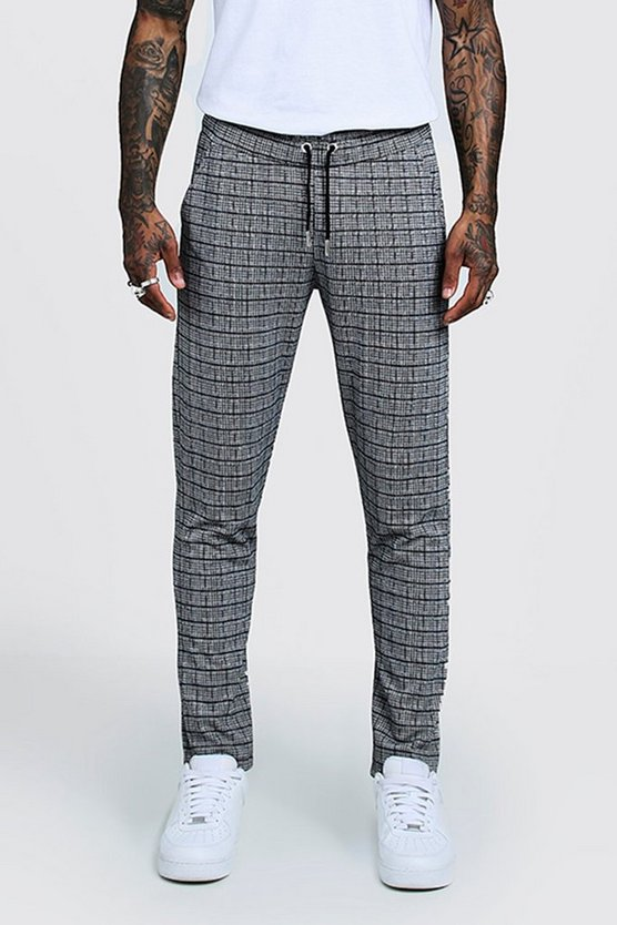 Mens Grey Window Pane Check Smart Jogger Trouser