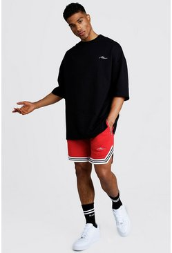Mens Black MAN Signature Oversized Tee & Short With Tape