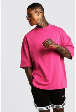 Mens Pink MAN Signature Oversized Tee & Short With Tape