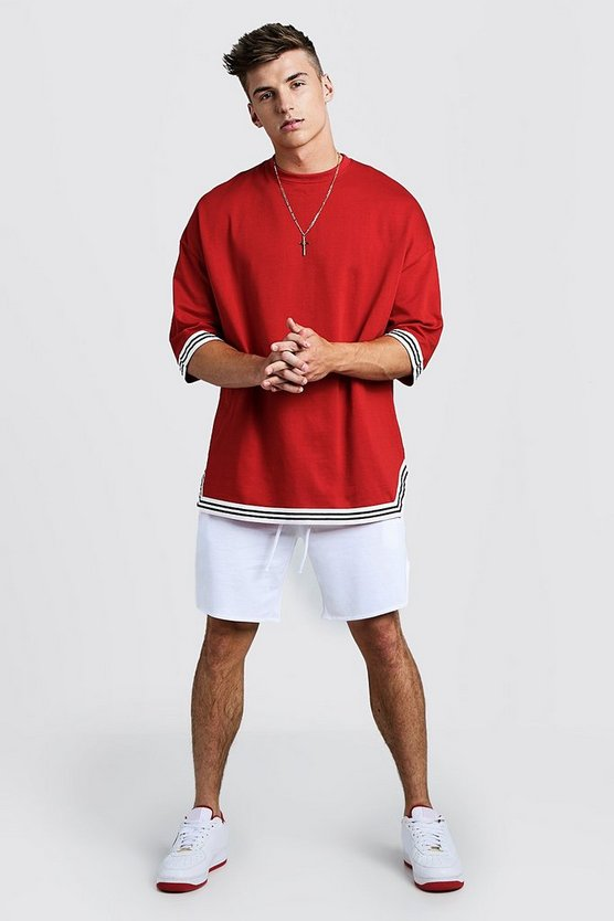Mens Red Oversized T-Shirt & Short Set With Tape