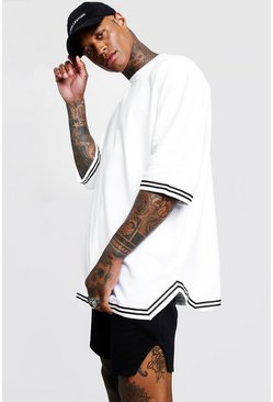 Mens White Oversized T-Shirt & Short Set With Tape