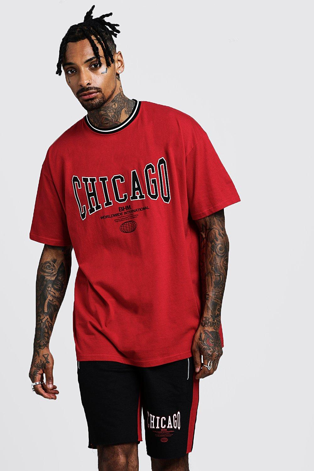 Oversized T-Shirt & Short Set With Chicago Print   BoohooMAN