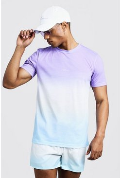 Mens Purple MAN Signature Faded T-Shirt & Swim Short