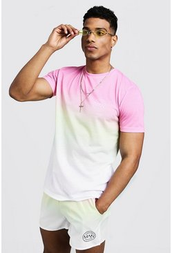 Ensemble T-shirt & Short de bain aspect délavé logo MAN, Rose, Homme
