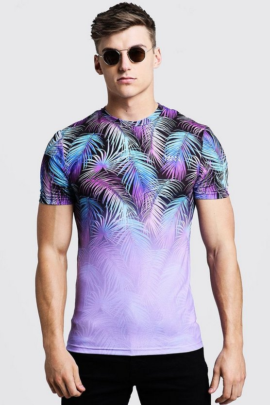 Mens Lilac Original MAN Muscle Fit Palm Faded T-Shirt