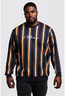Mens Black Big & Tall Stripe MAN Signature Sweater