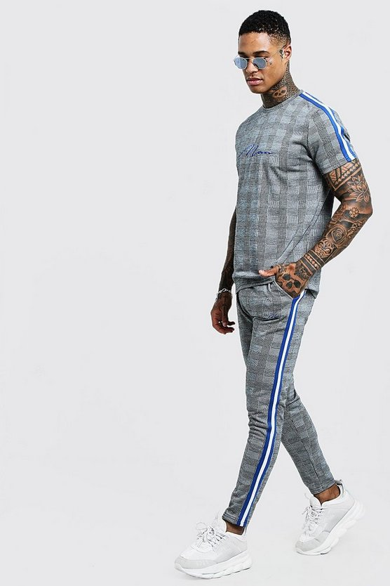 Mens Cobalt MAN Signature Check T-Shirt Tracksuit With Tape