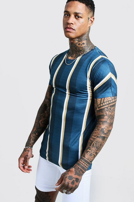Mens Black Vertical Stripe Muscle Fit T-Shirt