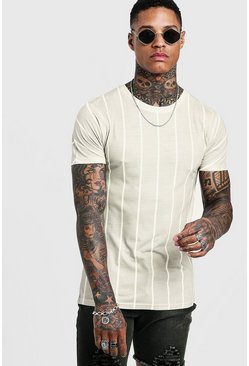 Mens Sand Pin Stripe Muscle Fit T-Shirt