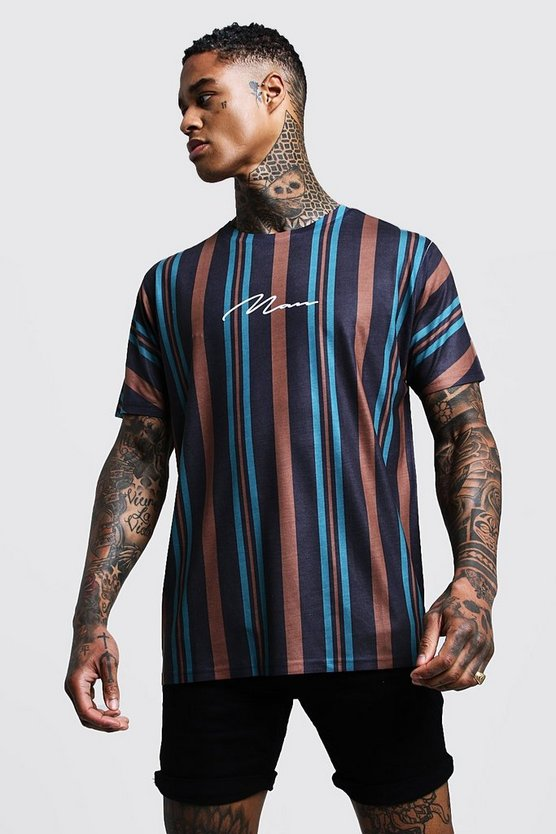 MAN Signature Oversized Stripe T-Shirt