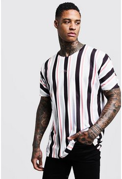 Mens Grey MAN Signature Loose Fit Stripe Printed T-Shirt