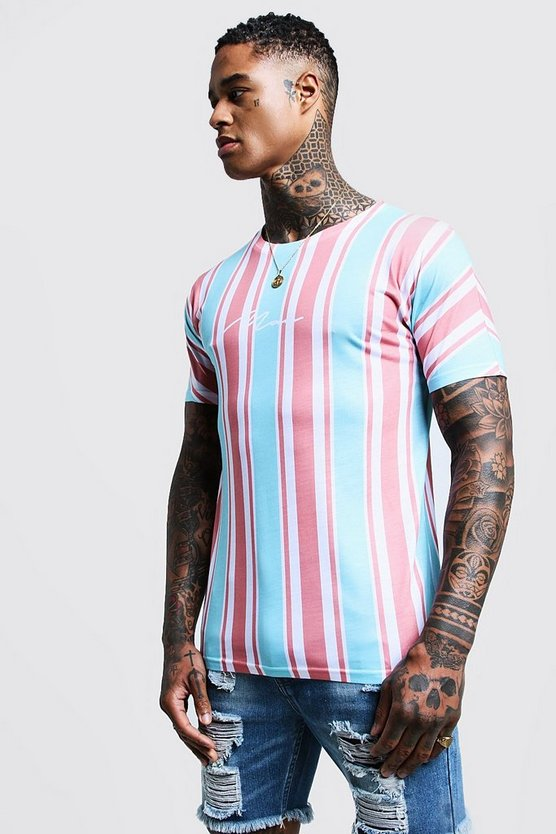 Dusky pink MAN Signature Stripe Printed T-Shirt