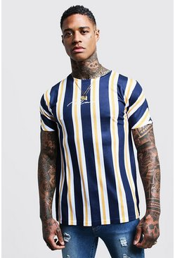 Mens Navy MAN Signature Stripes Printed T-Shirt