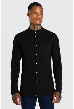 Black Long Sleeved Grandad Collar Jersey Shirt