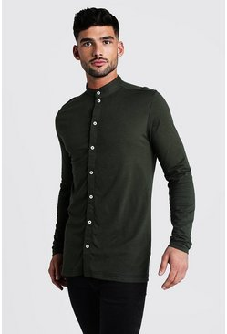 Khaki Long Sleeved Grandad Collar Jersey Shirt
