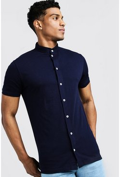 Mens Navy Short Sleeve Grandad Collar Jersey Shirt