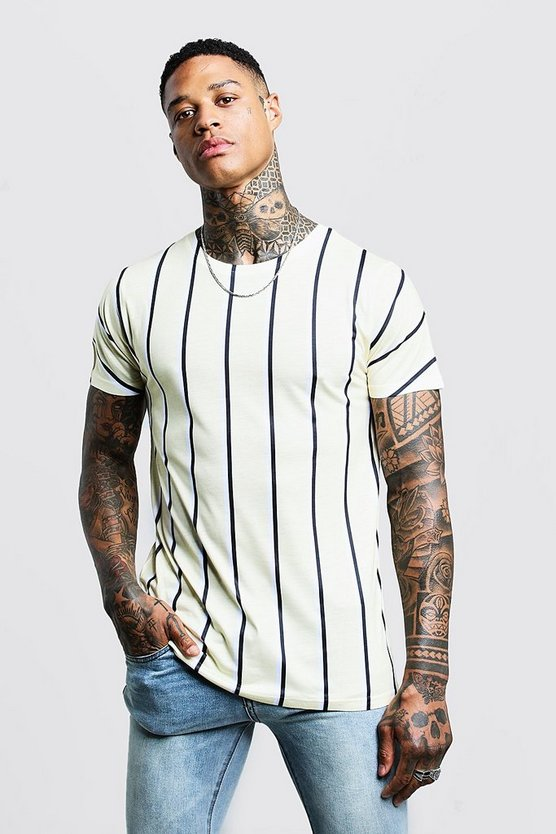 Mens Lemon Vertical Stripe T-Shirt