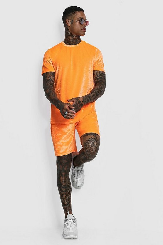 Man Signature Ensemble T-shirt et Short en velours fluo, Orange néon, Homme