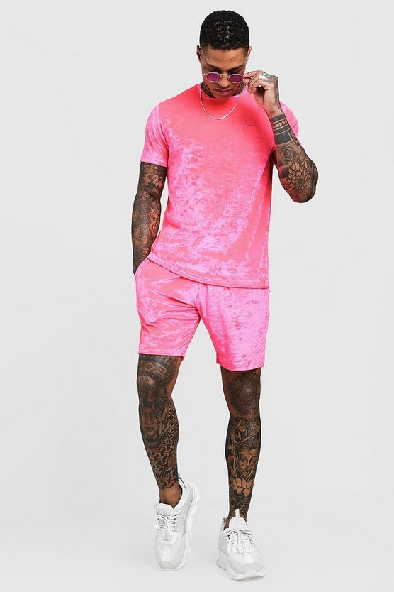 Man Signature Ensemble T-shirt et Short en velours fluo, Rose néon, Homme