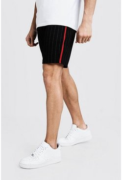 Mens Black Pinstripe Taped Mid Length Short