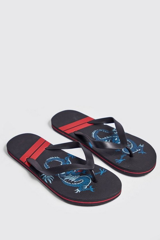 Black Dragon Print Flip Flops