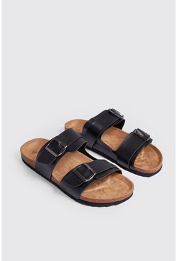 Mens Black Double Buckle Sandal