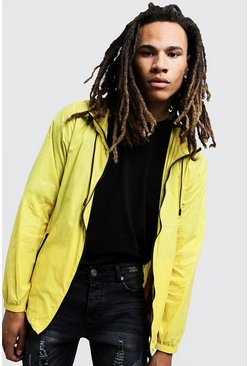 Mens Yellow Lightweight Cagoule With Hood