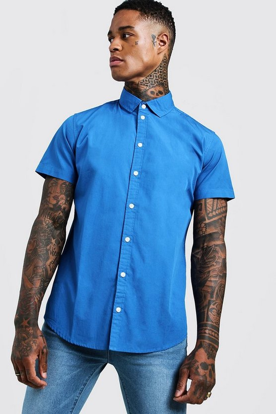 Mens Cobalt Cotton Poplin Shirt In Short Sleeve