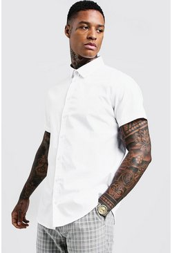Mens White Cotton Poplin Shirt In Short Sleeve