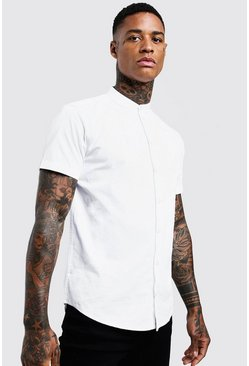 Mens White Cotton Poplin Grandad Shirt In Short Sleeve