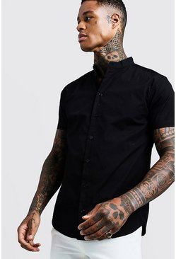 Mens Black Cotton Poplin Grandad Shirt In Short Sleeve