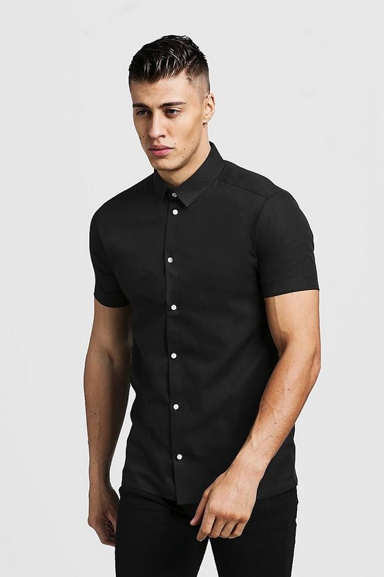 Mens Black Slim Fit Short Sleeve Shirt With Contrast Buttons