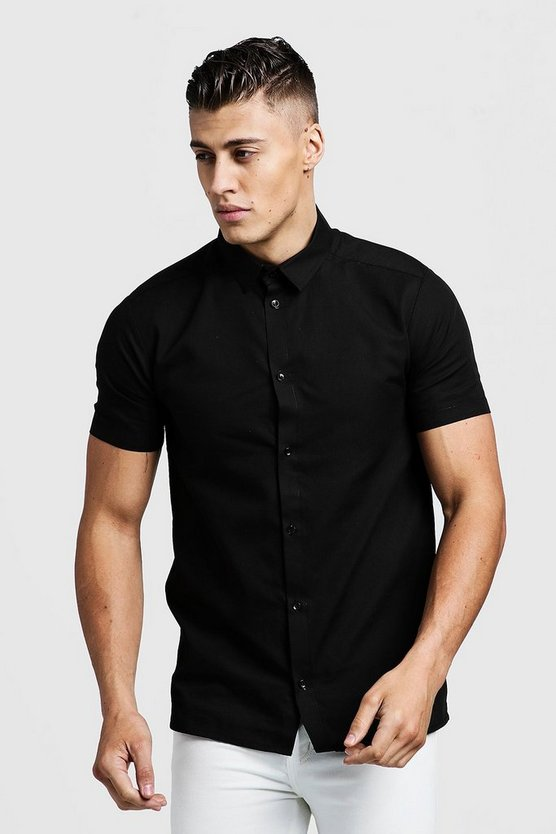 Mens Black Slim Fit Short Sleeve Smart Shirt