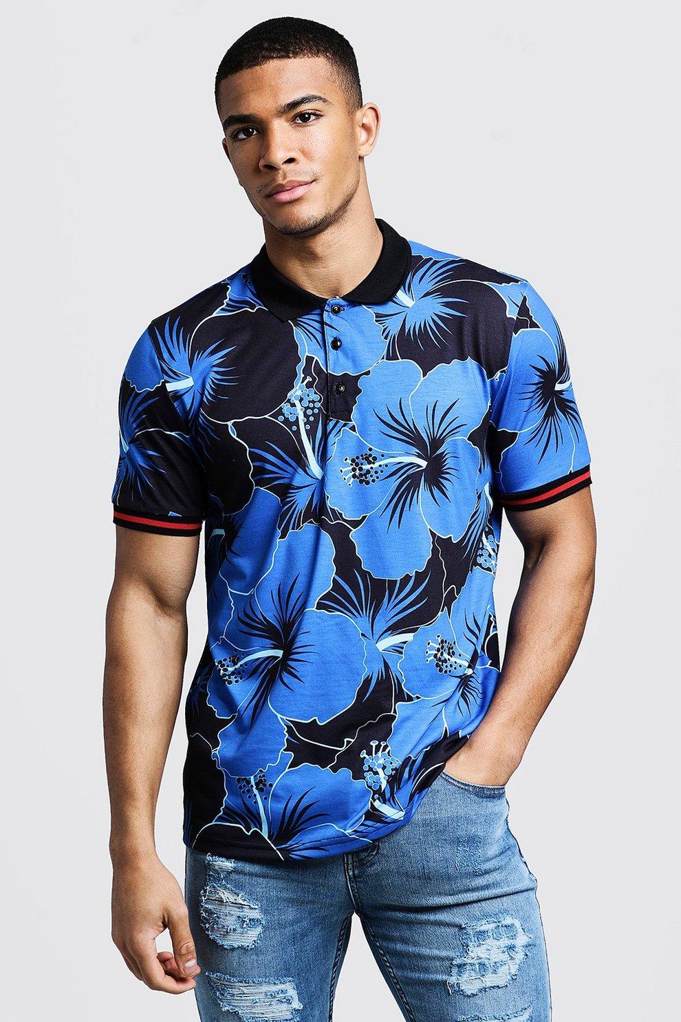1e6fee35 Mens Cobalt Polo T-Shirt In Hawaiian Floral Print